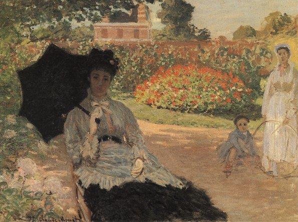 Camille im Garten mit Jean und seinem Kindermaedchen